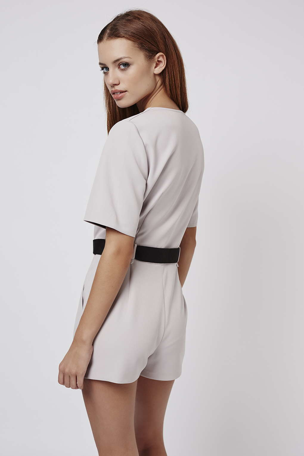 dad0c931a31e Lyst - TOPSHOP Petite Judo Wrap Playsuit in Natural