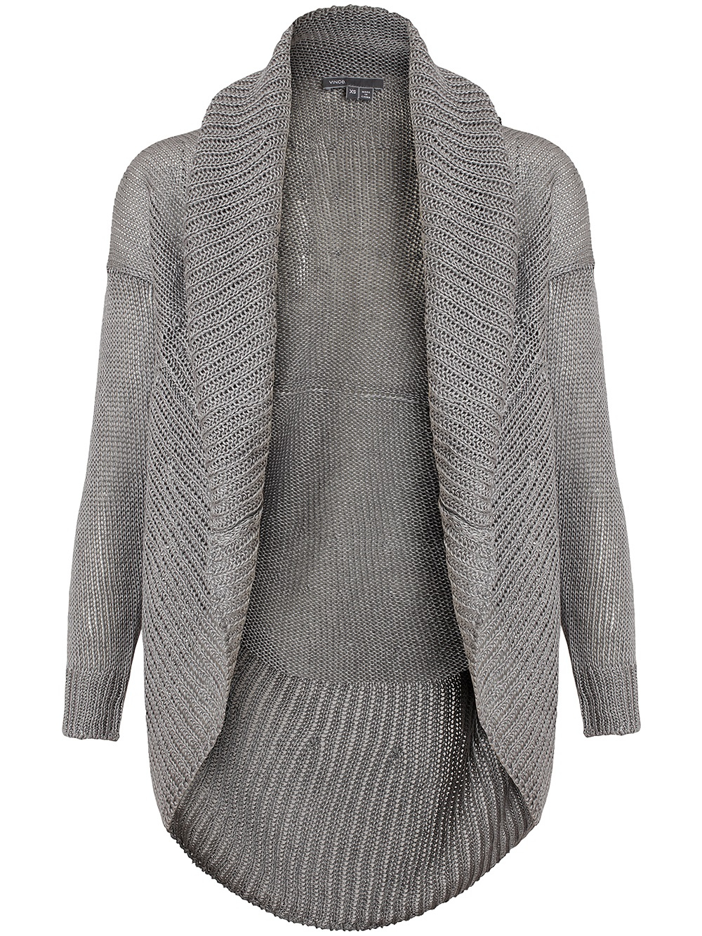 Vince Knitted Linen Circle Cardigan in Gray (grey) Lyst