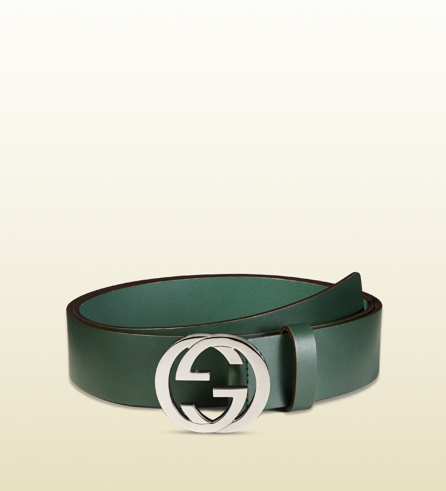 gucci leather belt with interlocking g buckle in green for