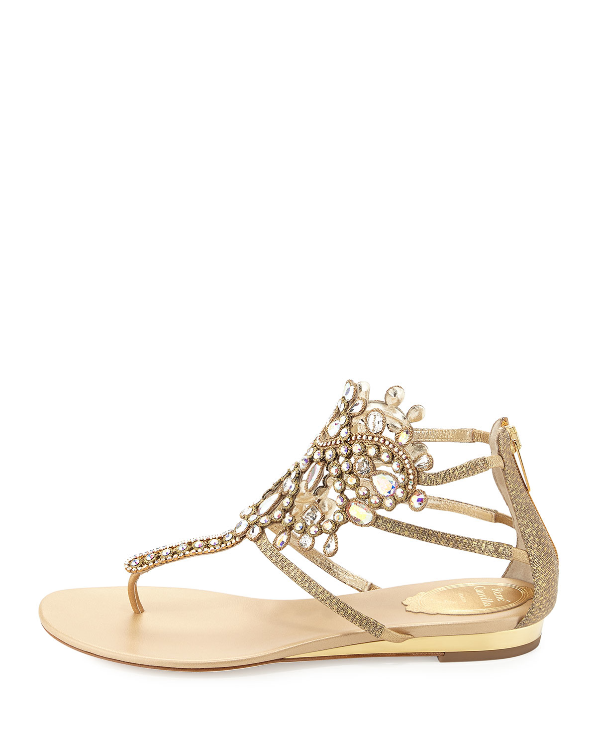 a09dace7f Rene Caovilla Crystal-Embellished Leather Sandals in Metallic - Lyst