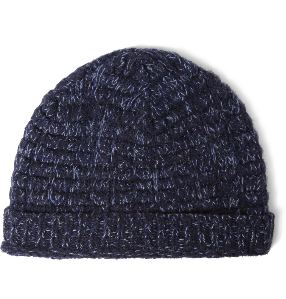 Lyst - Richard James Two-Tone Wool Beanie in Blue for Men 61b6463e6160