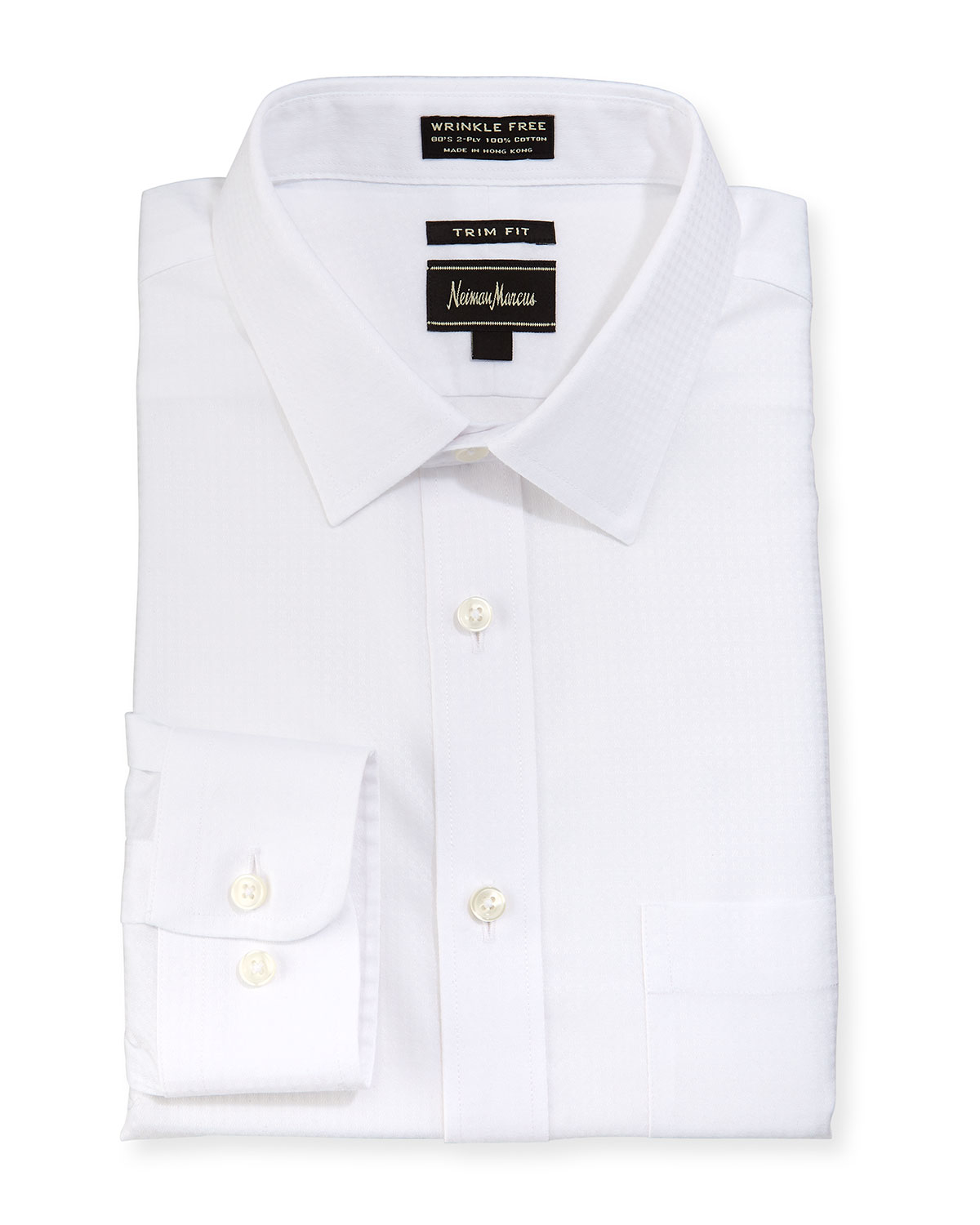 Neiman marcus trim fit non iron textured dress shirt in for White non iron dress shirts