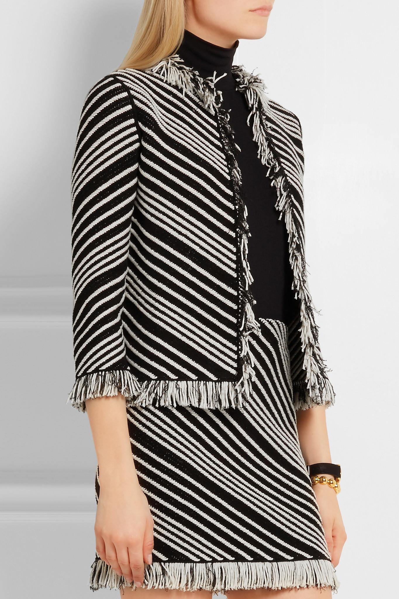 6b6268e8405 Lyst - Sonia Rykiel Fringed Striped Cotton-blend Jacket in Black