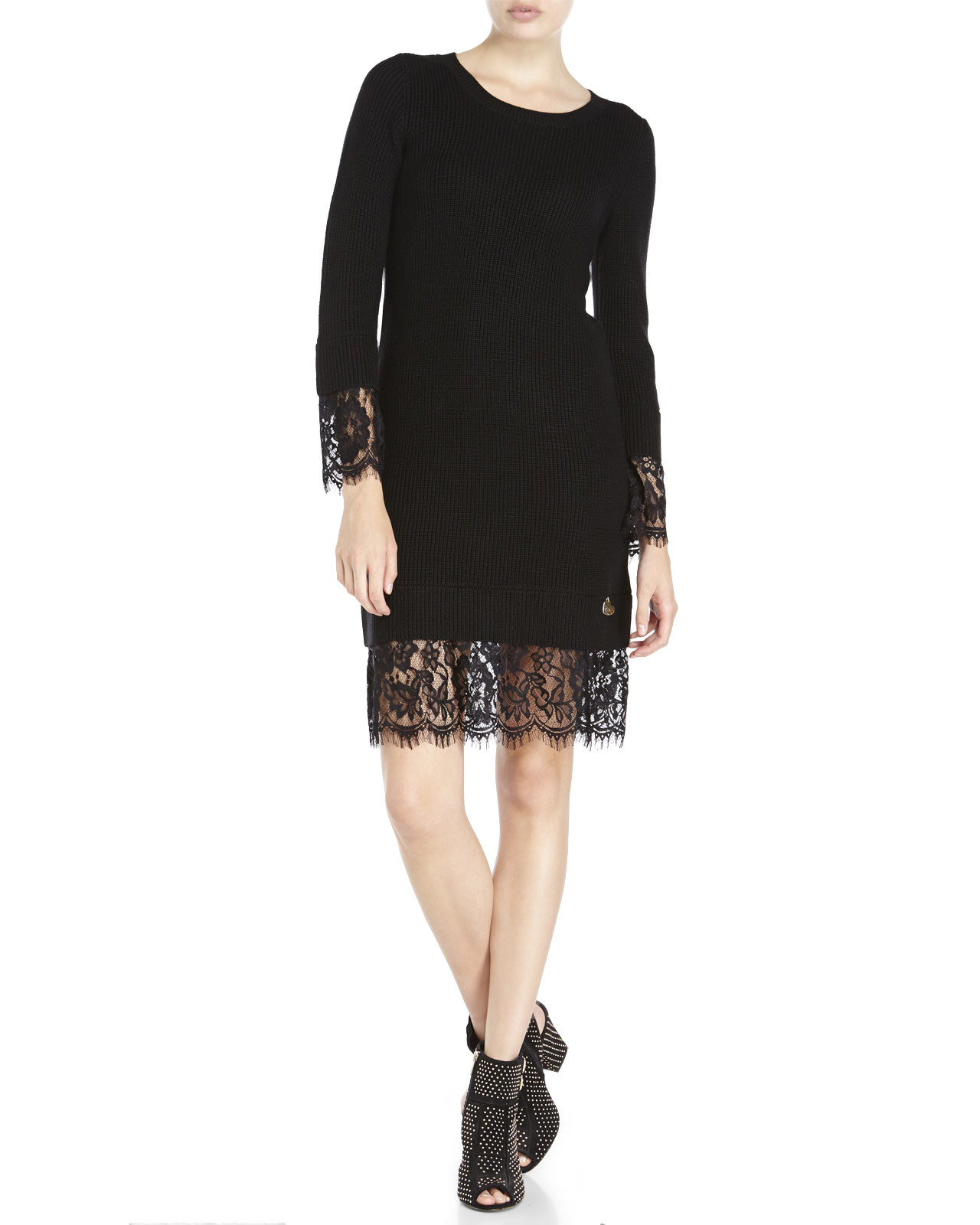 fbe55a4fe32 Lyst - Love Moschino Lace Trim Sweater Dress in Black