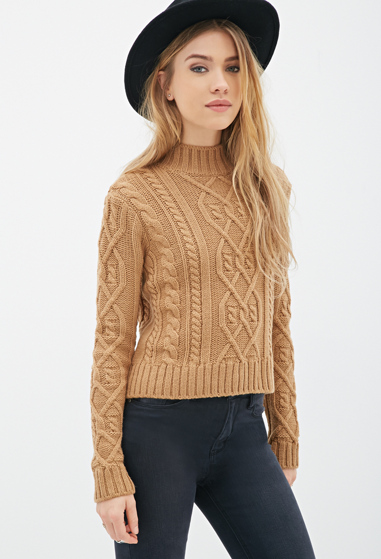 Forever 21 Cable Knit Mock-neck Sweater in Brown | Lyst
