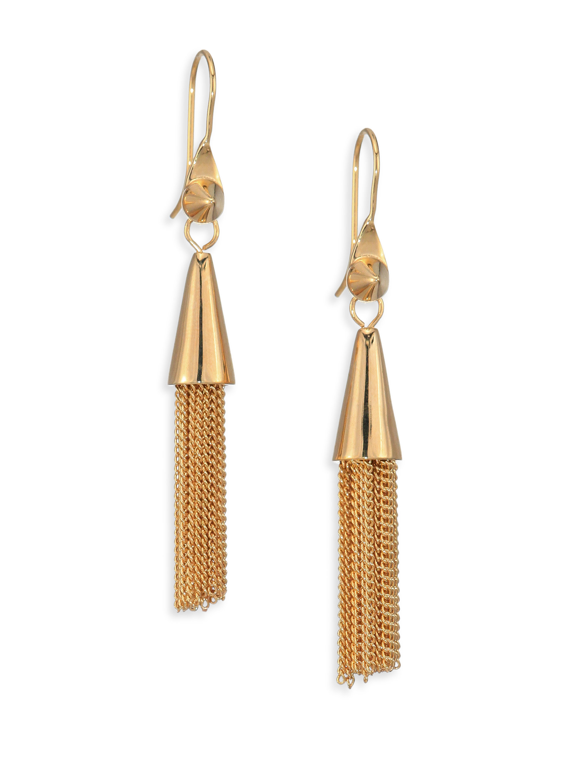 eddie borgo small chain tassel earrings in metallic lyst
