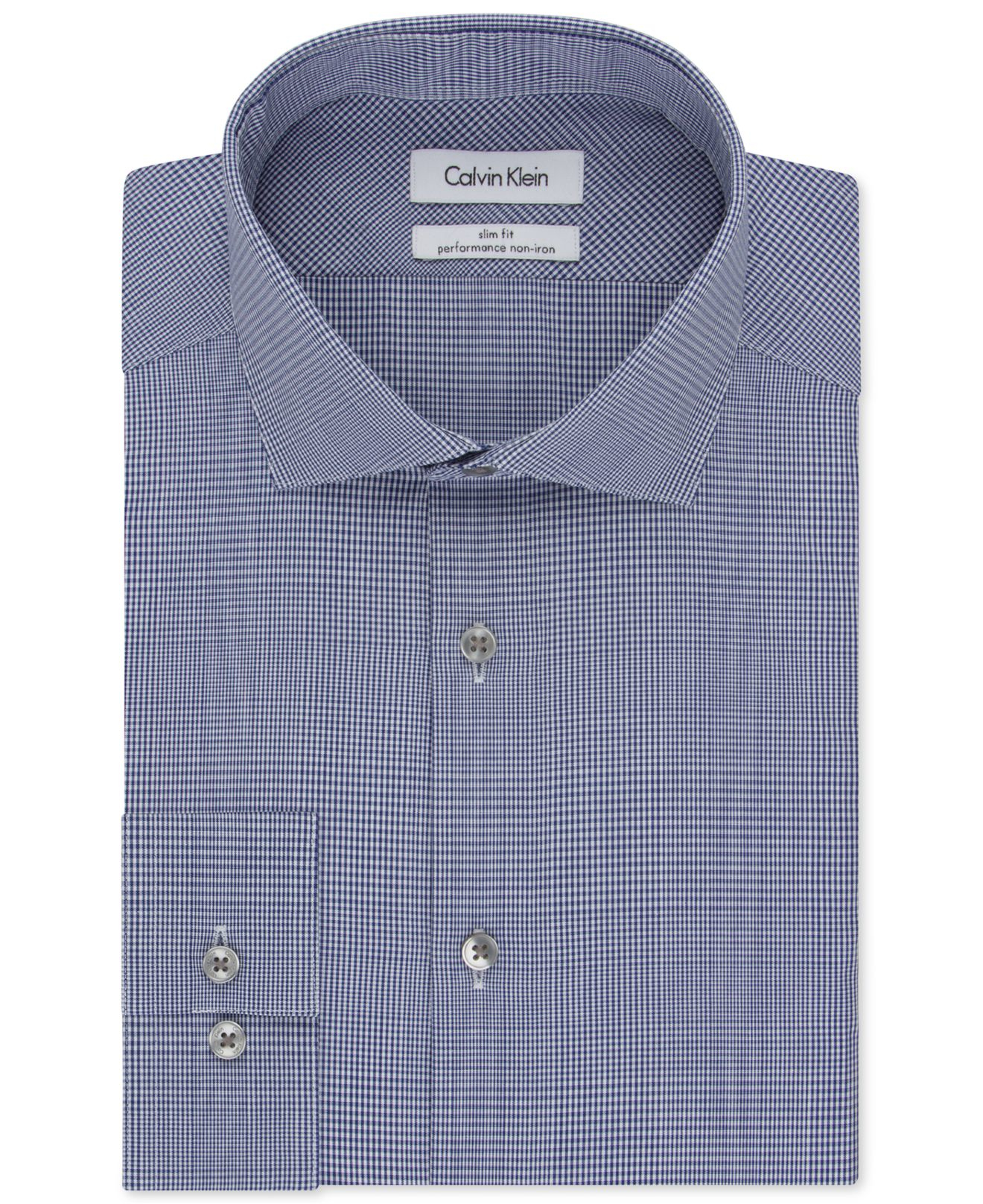 Lyst calvin klein steel slim fit non iron performance for Slim fit non iron dress shirts