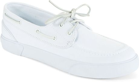 polo ralph sander boat shoes in white for