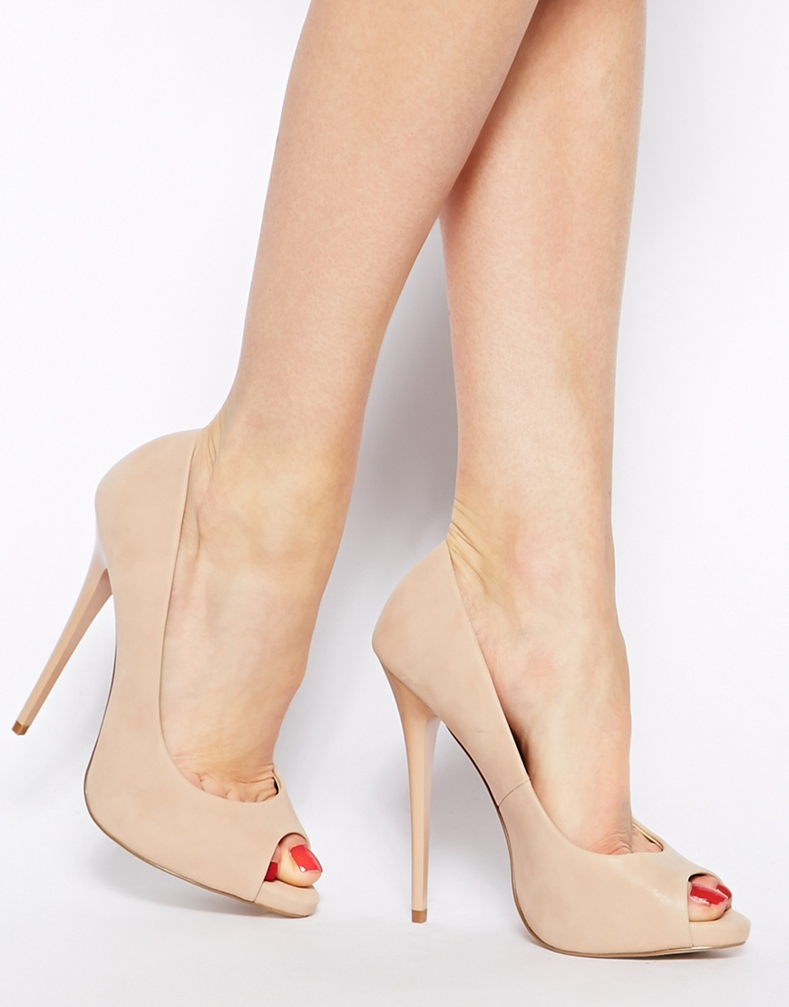 Asos Penzance High Heels with Peep Toe in Natural | Lyst