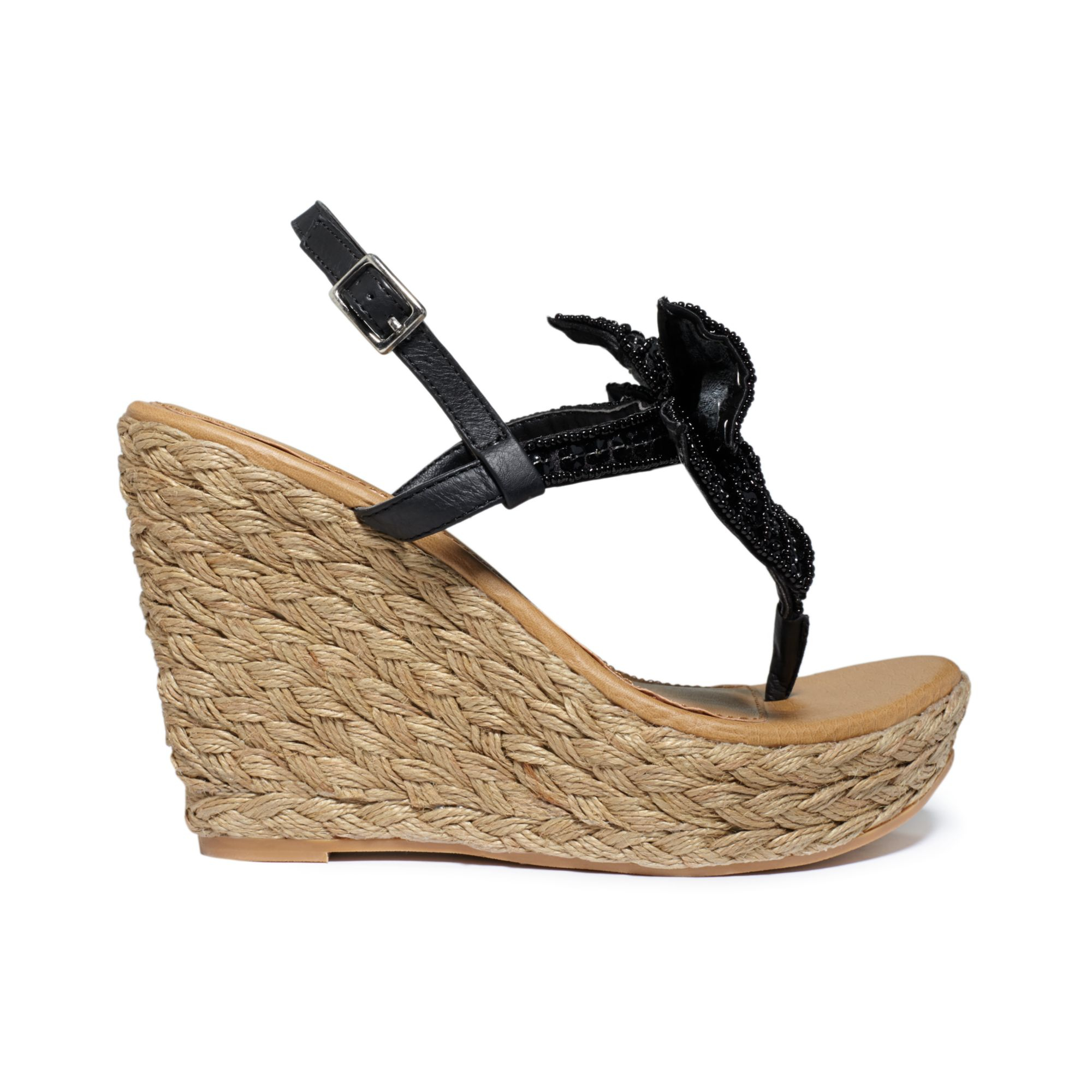 05e427c9e Lyst - Naughty Monkey Feel Free Platform Wedge Thong Sandals in Black