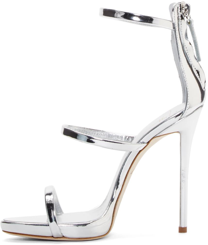 ecdc1faeac4 Lyst - Giuseppe Zanotti Silver Coline Heeled Sandals in Metallic