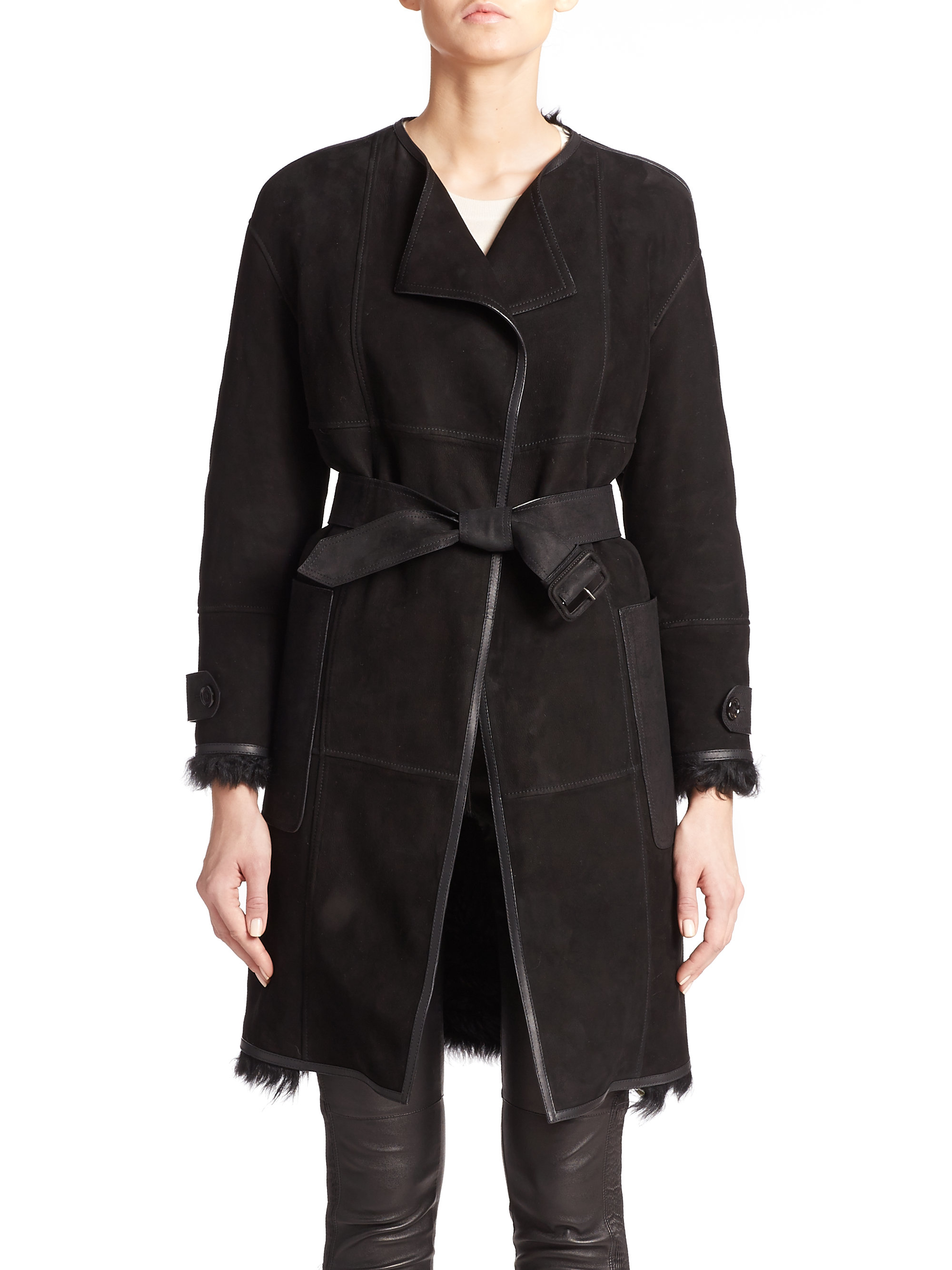 Burberry Helmington Lamb Shearling Wrap Coat in Black | Lyst