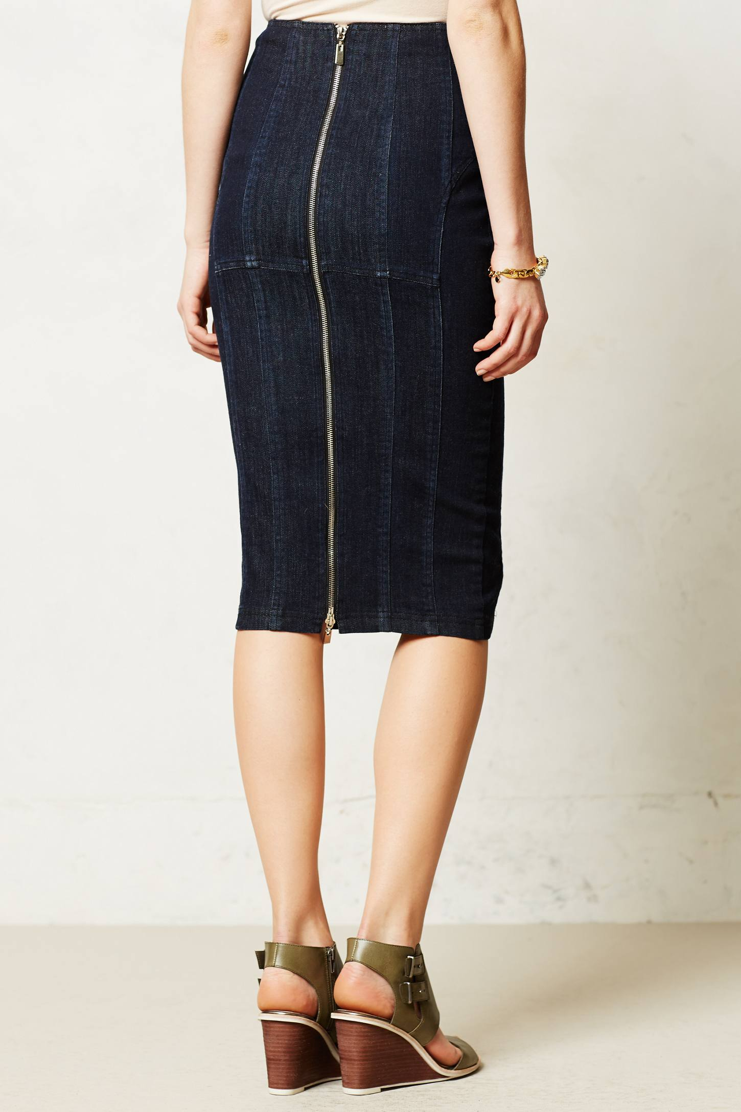 nanette lepore denim pencil skirt in blue lyst