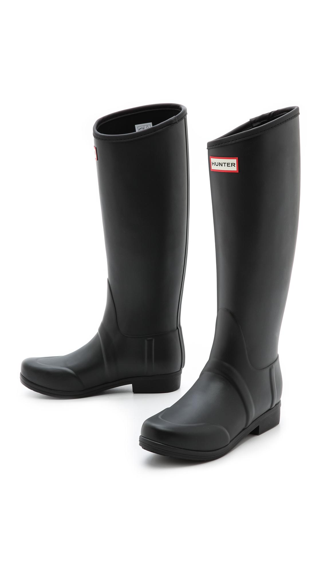 Hunter Equestrian Tall Boots Dark Chocolate in Black | Lyst