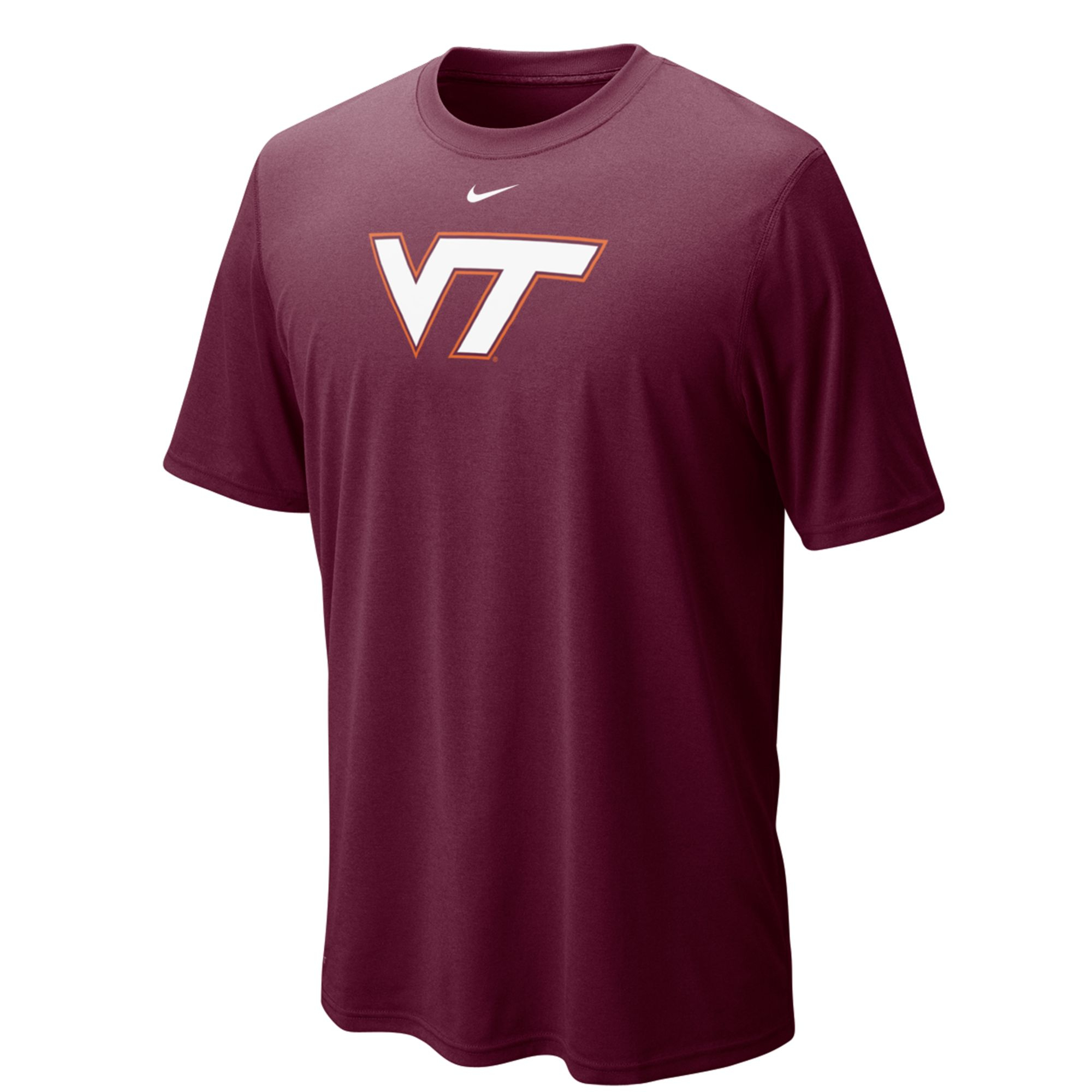 Nike virginia tech hokies dri fit legend tee in red for for Maroon dri fit polo shirt