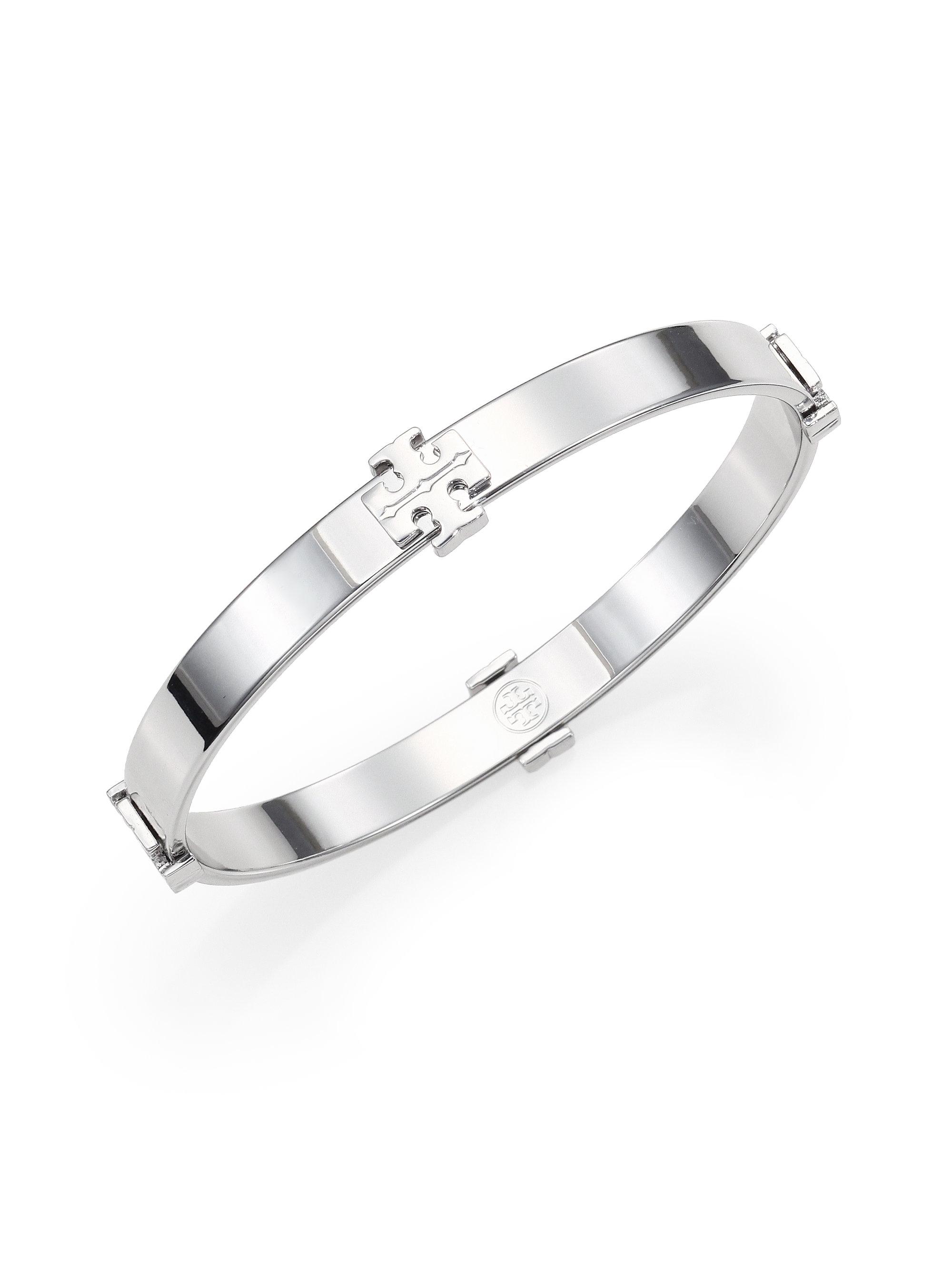 lyst tory burch logo station bangle bracelet silvertone in metallic. Black Bedroom Furniture Sets. Home Design Ideas