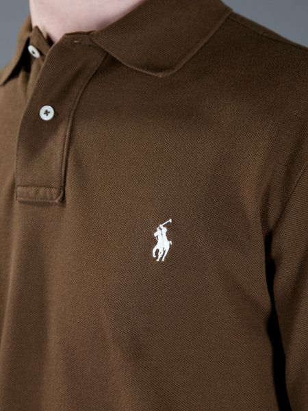 Ralph Lauren Blue Label Long Sleeve Polo Shirt In Brown