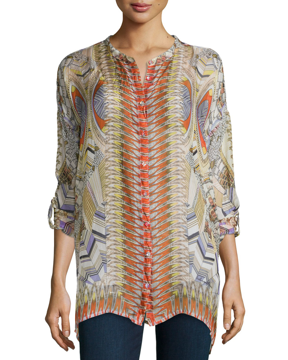 Johnny Was Feather Print Silk Button Front Tunic Braided