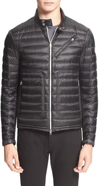 Moncler Picard Quilted Down Moto Jacket In Black For Men