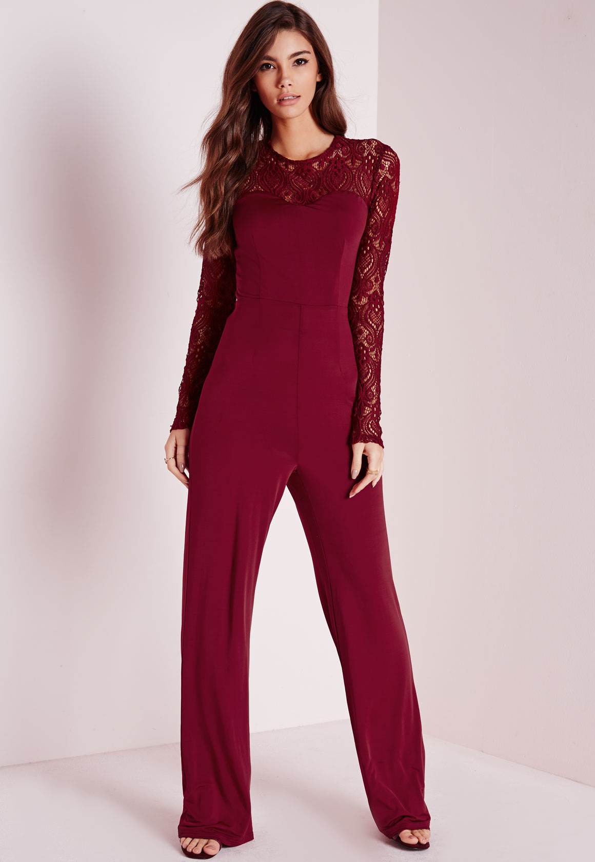 Lyst - Missguided Lace Slinky Jumpsuit Burgundy In Red