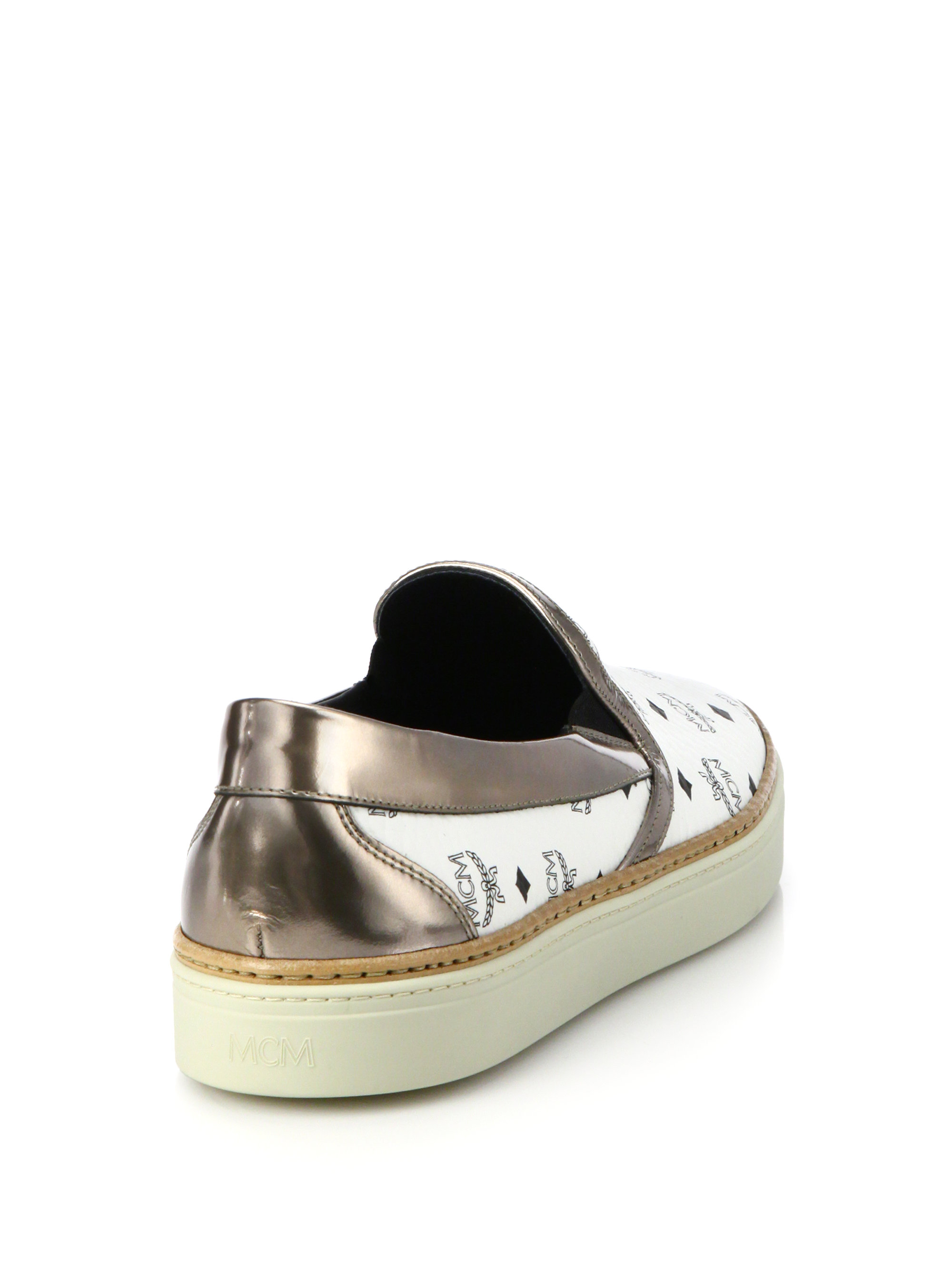 Mcm Slip On Logo Sneakers In White Lyst