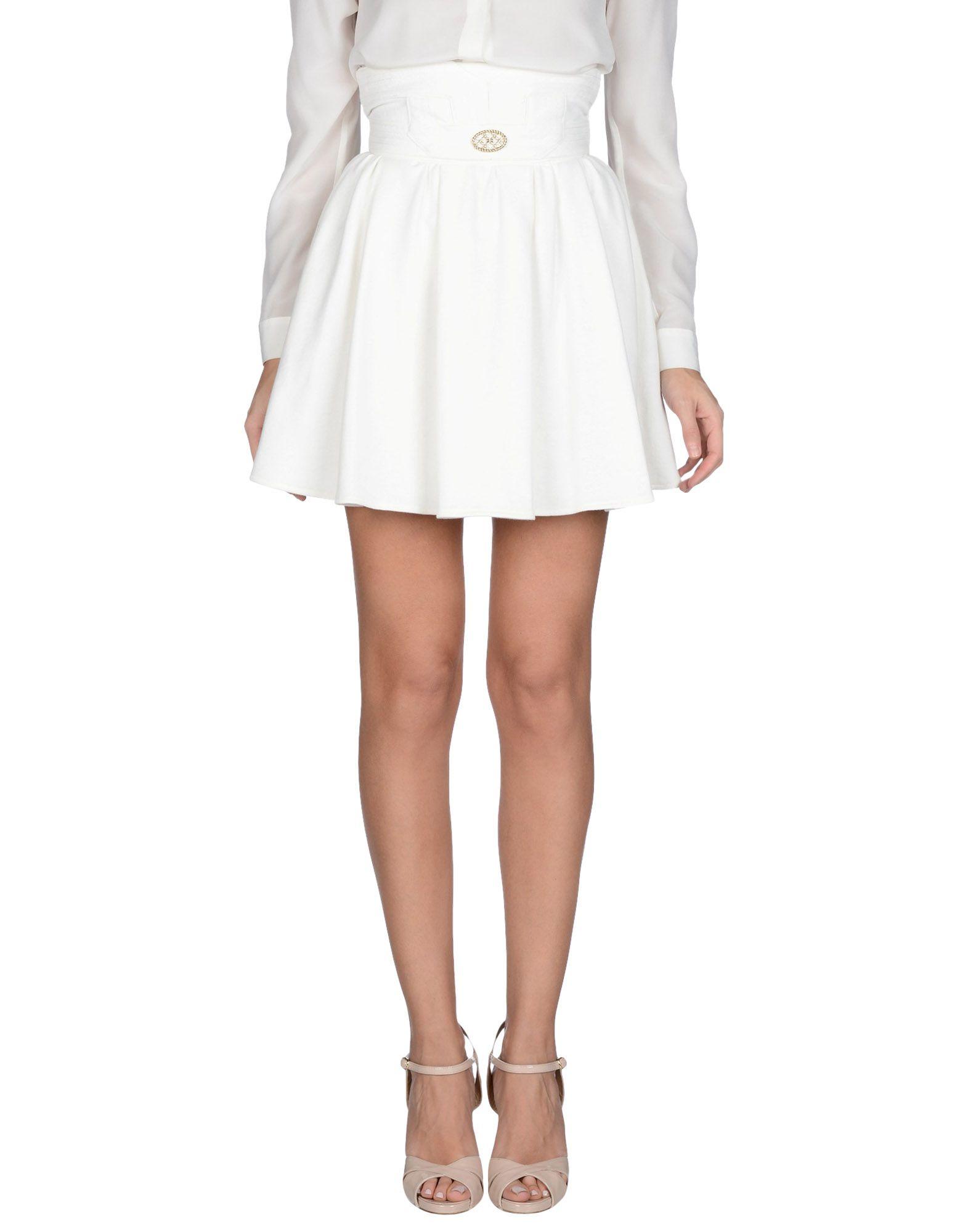 Elisabetta franchi Mini Skirt in White | Lyst
