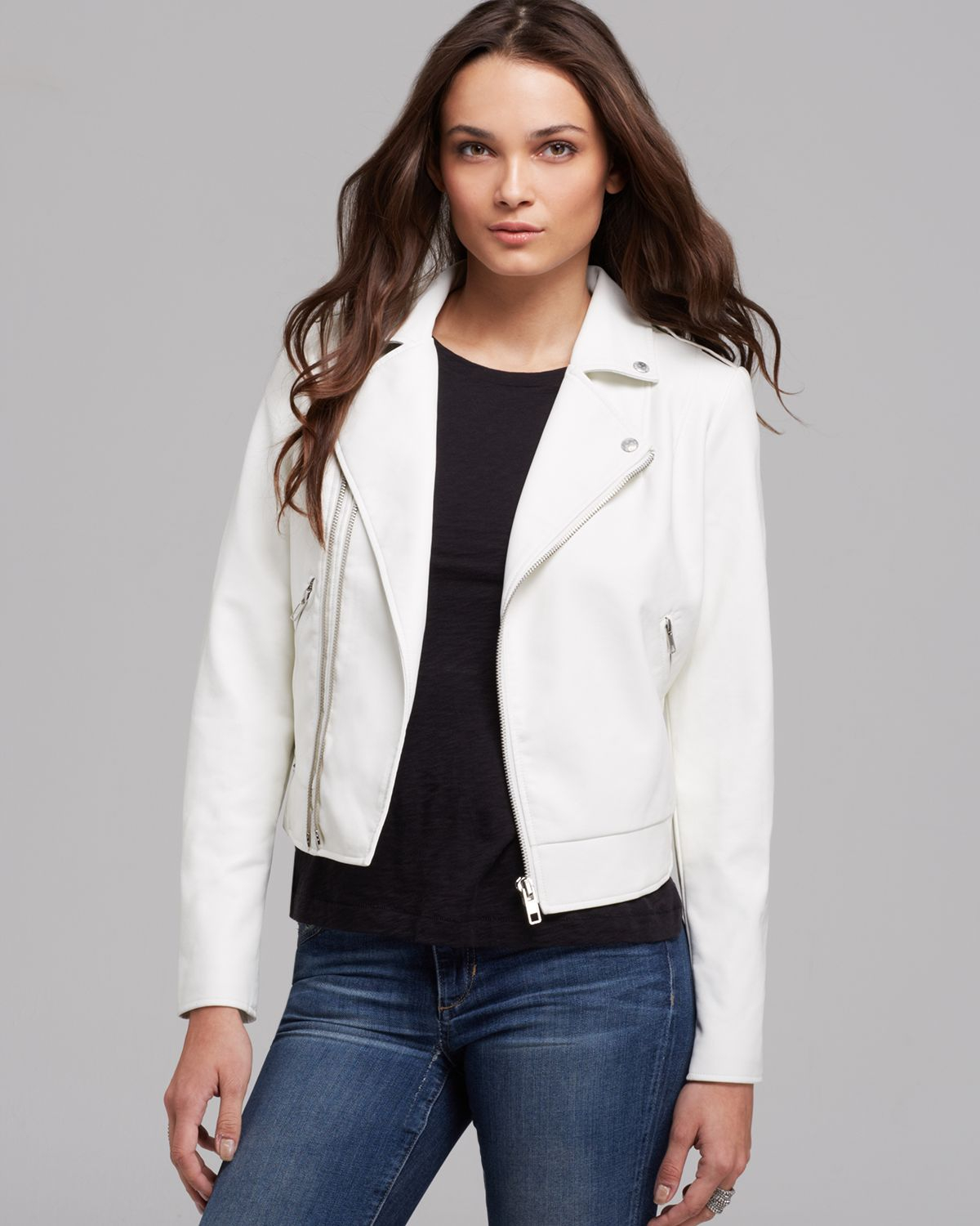 bbea1937 Guess Jacket Faux Leather Moto Crop in White - Lyst