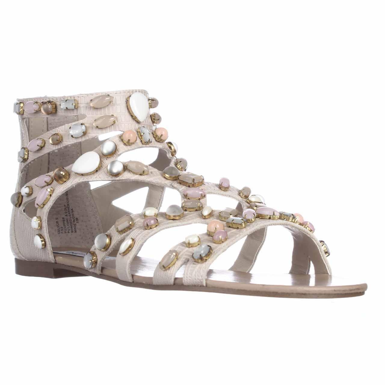 68534b44d5c51e Lyst - Steve Madden Culver Jeweled Gladiator Flat Sandals in White
