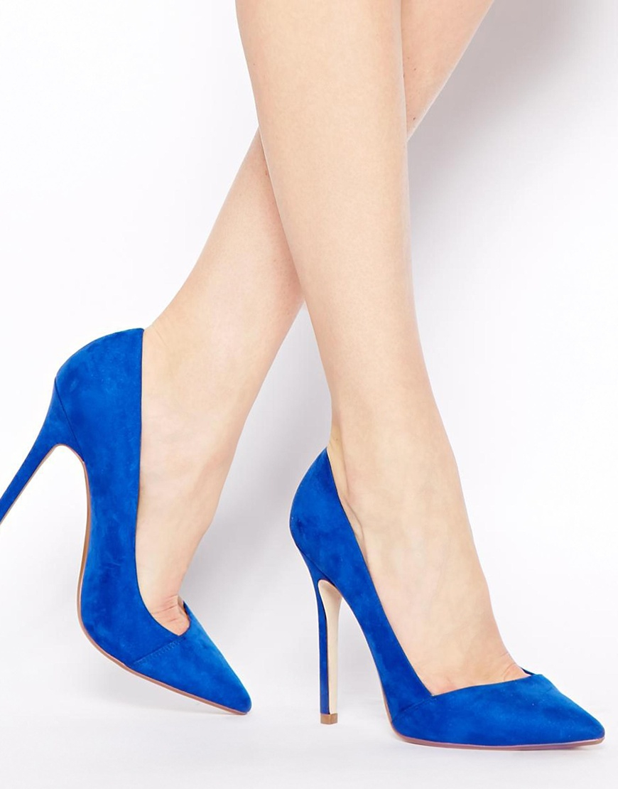 Asos Pensive Pointed High Heels in Blue | Lyst