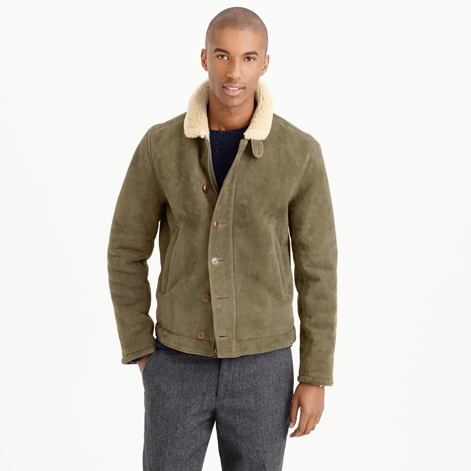 J.crew Shearling Bomber Jacket in Natural for Men | Lyst