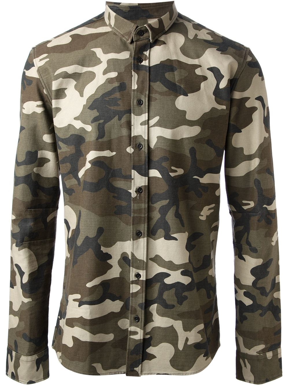 Balmain camouflage print shirt in green for men lyst for Camouflage t shirt printing