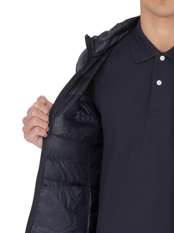 Armani Jeans Long Down Quilted Coat In Blue Navy Lyst