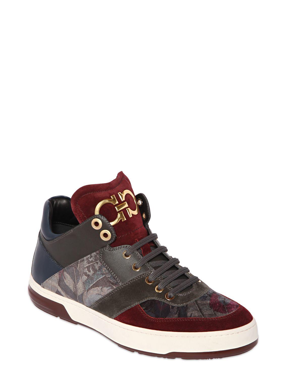 Lyst Ferragamo Monroe 2 Velvet Amp Leather Sneakers For Men