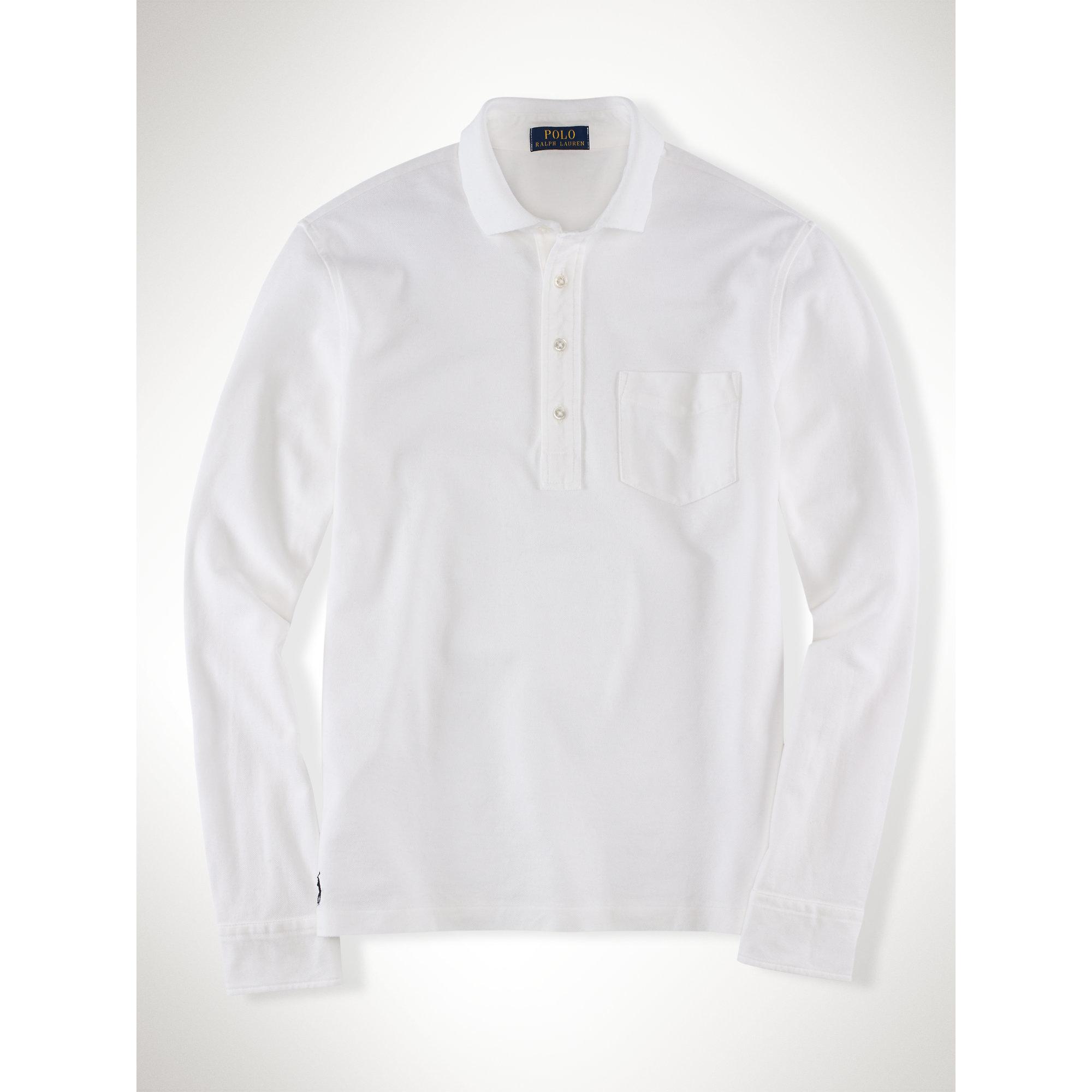 162413c5c1b9 ... official store lyst polo ralph lauren pima stretch mesh polo shirt in  white for men ae87e