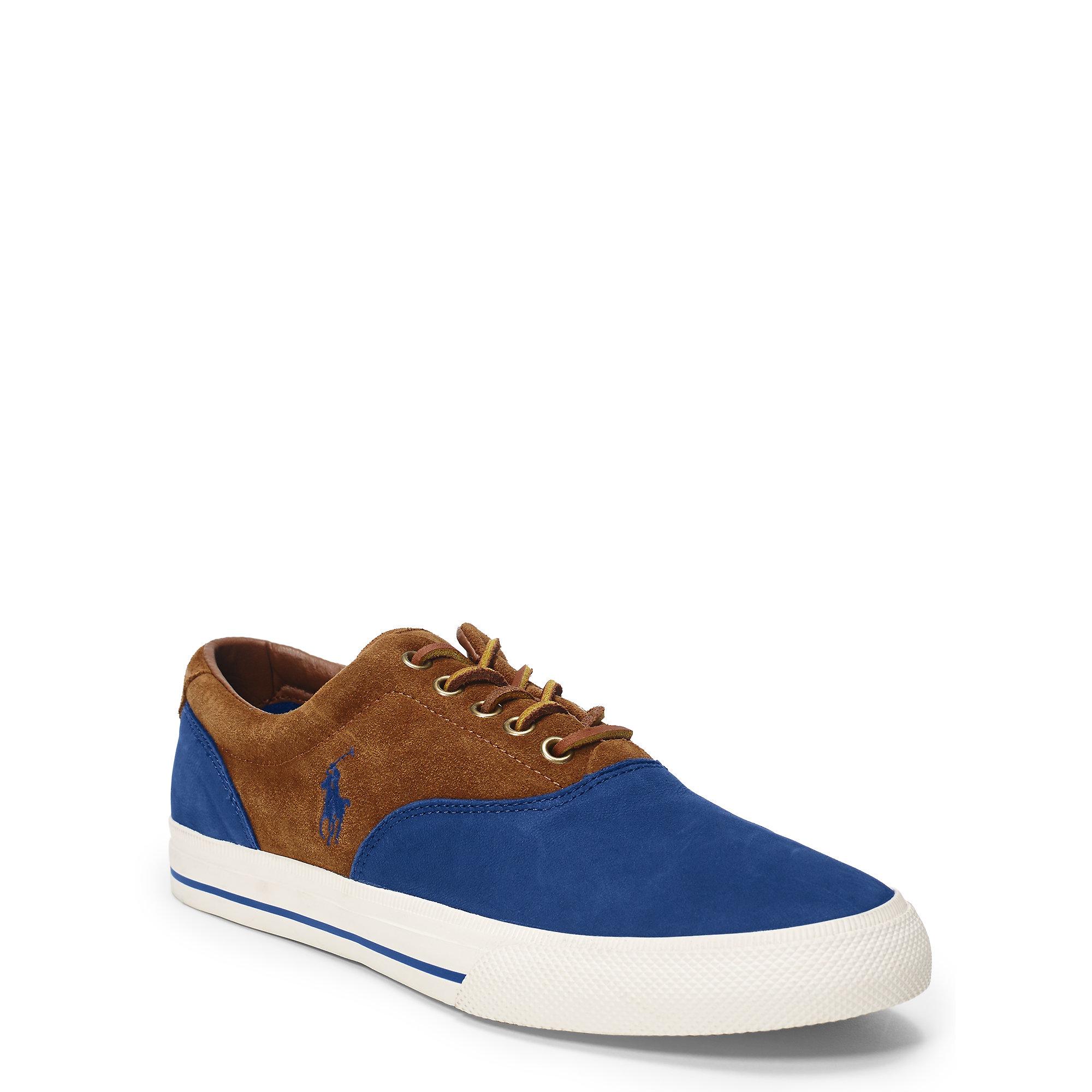polo ralph lauren vaughn linen saddle sneaker in blue for men lyst. Black Bedroom Furniture Sets. Home Design Ideas