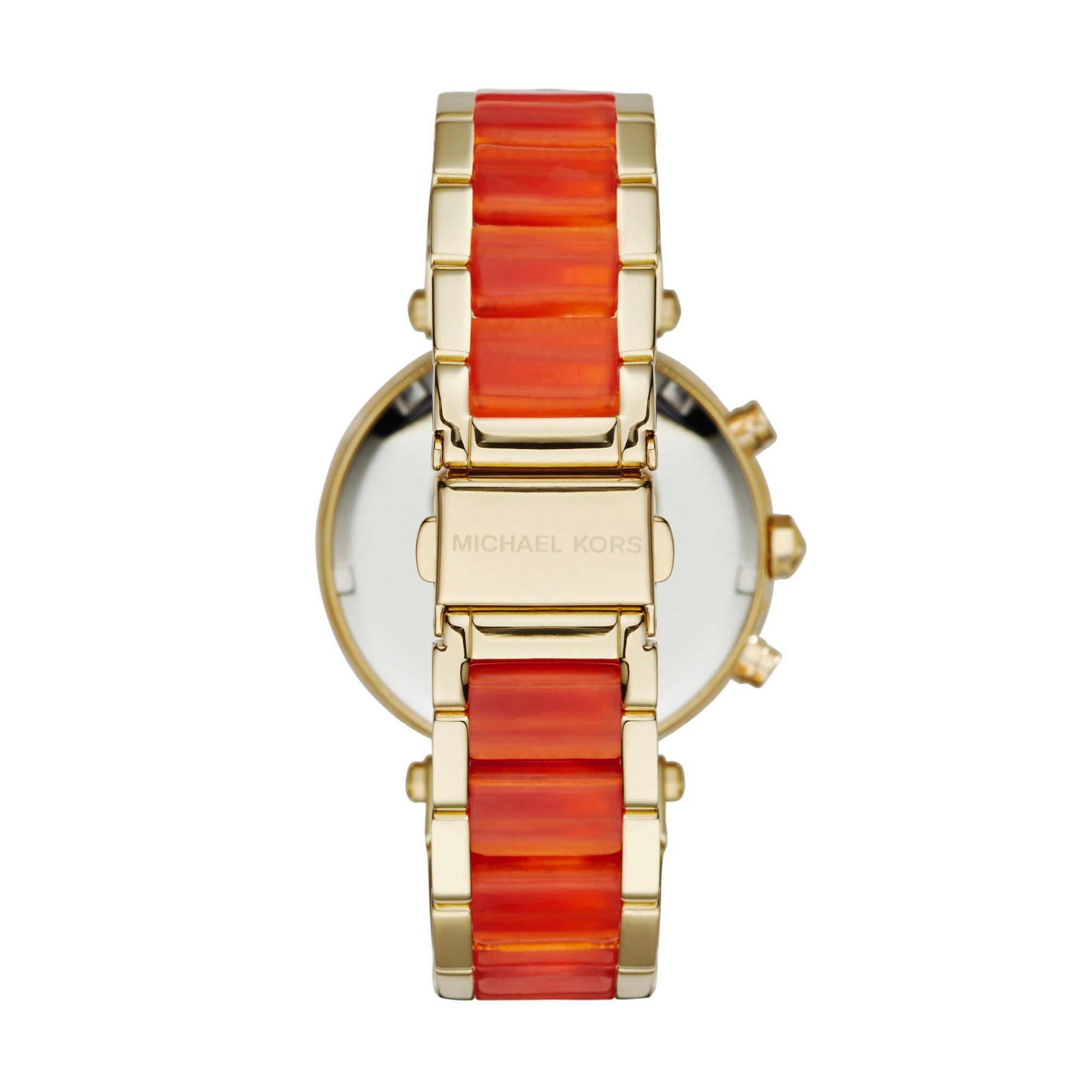 ea962409bfb6 Lyst - Michael Kors Parker Gold-tone Acetate Watch in Metallic