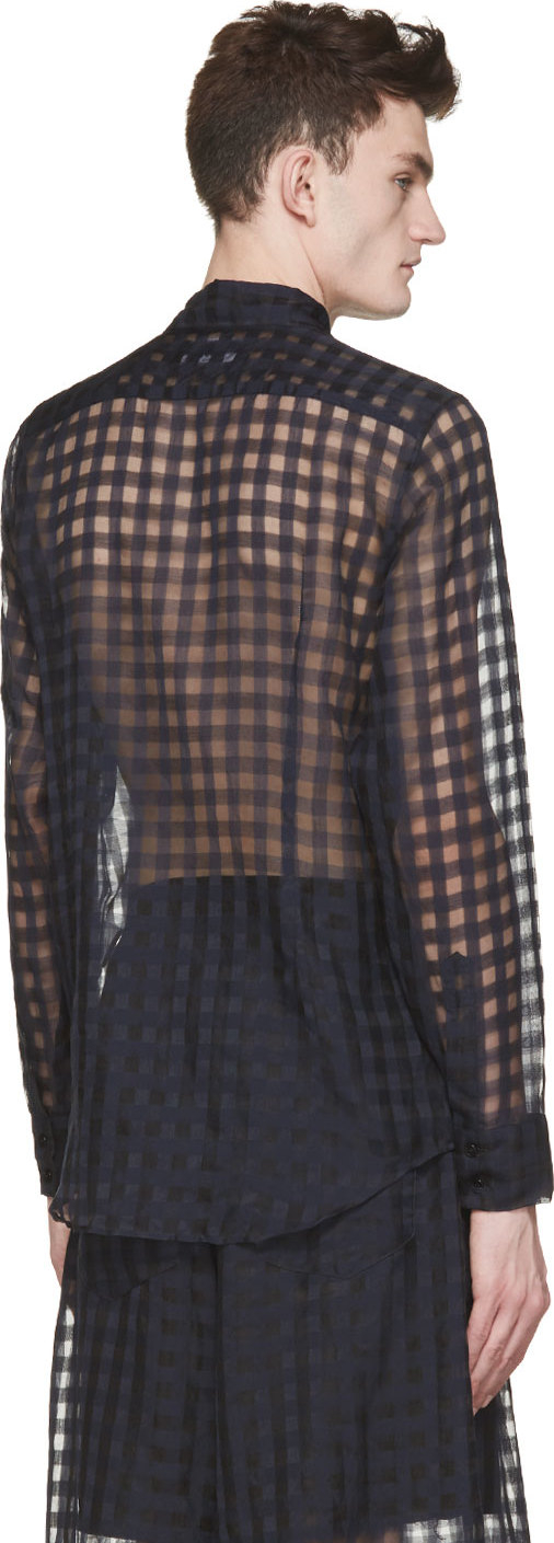 Lyst yang li navy and black sheer gingham shirt in blue for Navy blue gingham shirt