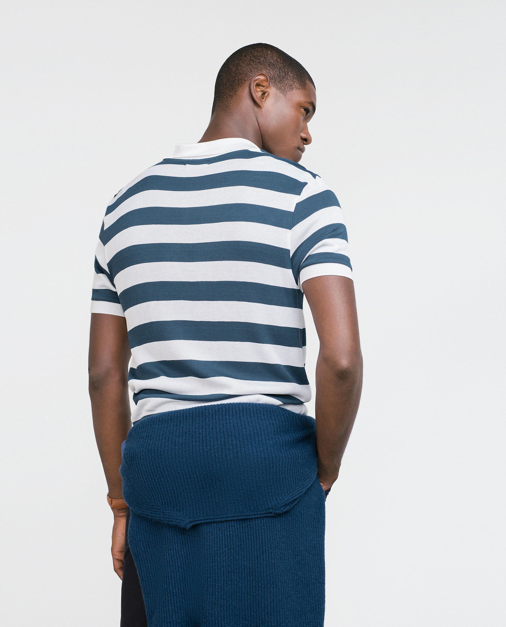Zara striped polo shirt striped polo shirt in white for for Cobalt blue polo shirt