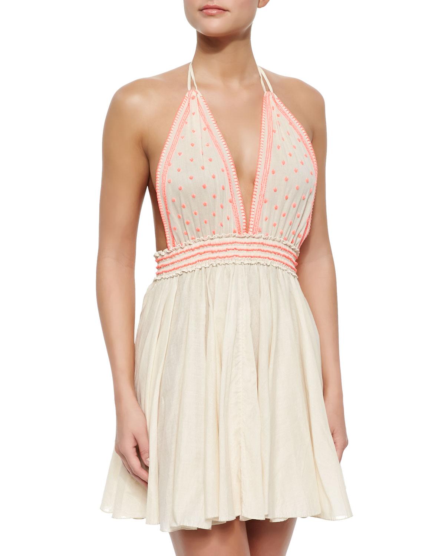 Loveshackfancy Bali Embroidered Linen Halter Dress In Natural Lyst