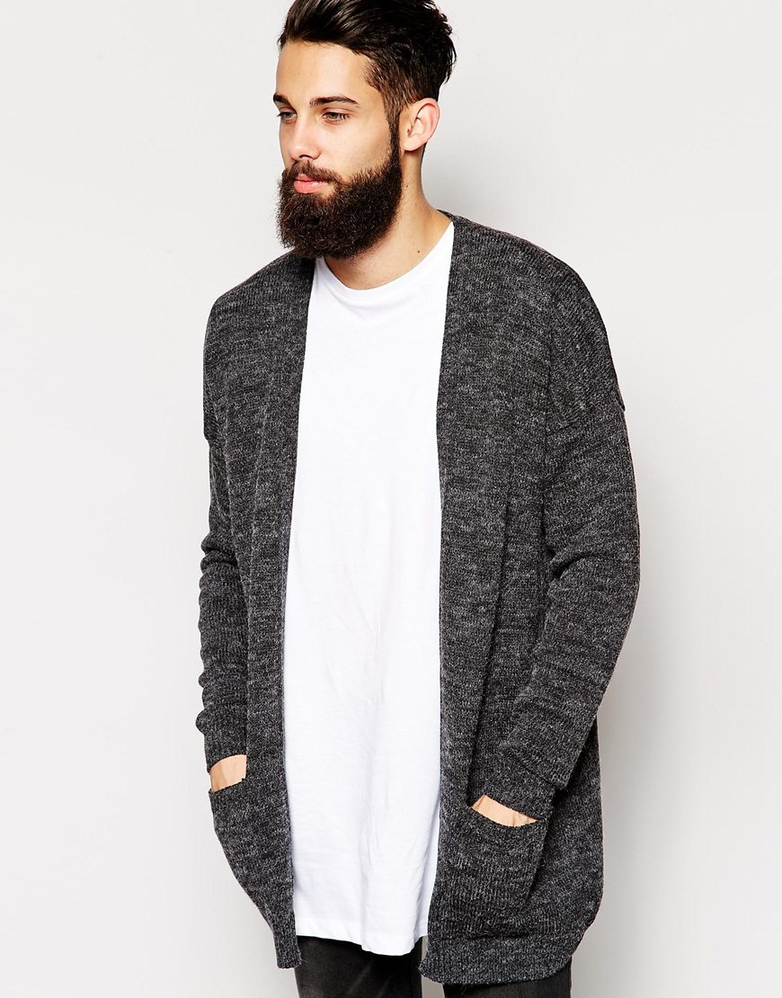 Asos Longline Cardigan In Brushed Texture in Gray for Men   Lyst