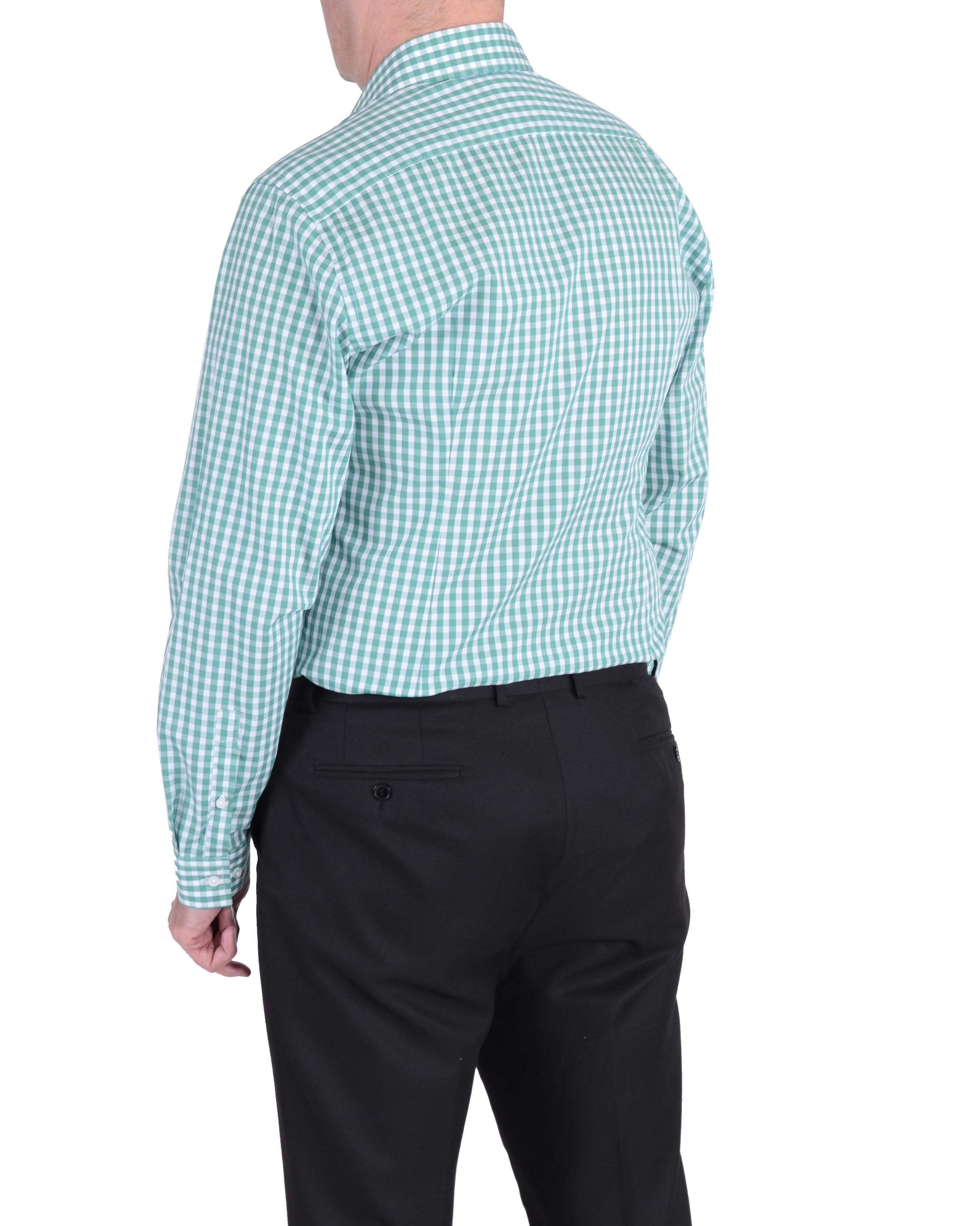 Lyst double two slim fit formal shirt in green for men for Trim fit tuxedo shirt