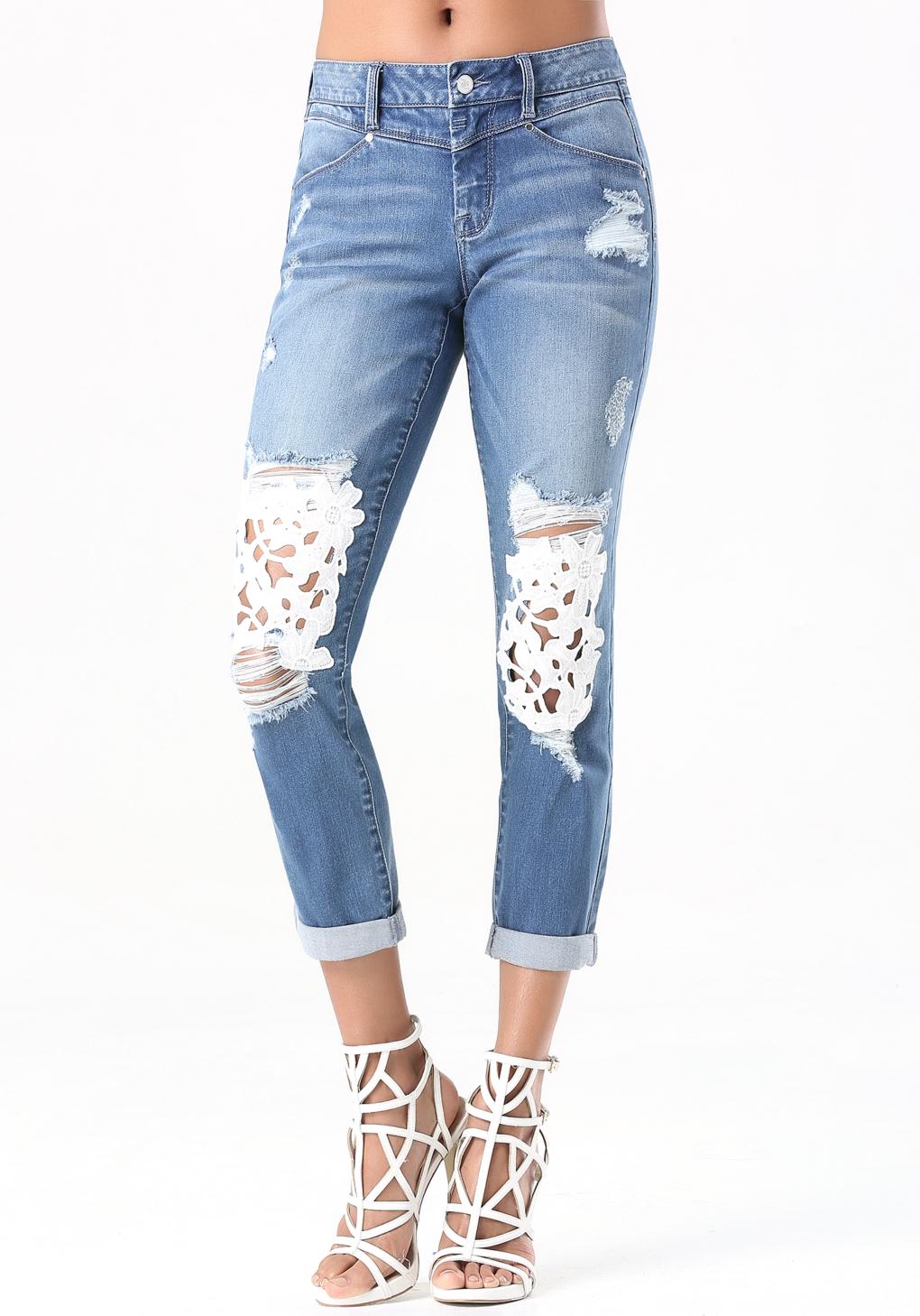 Lyst Bebe Lace Repair Skinny Jeans In Blue