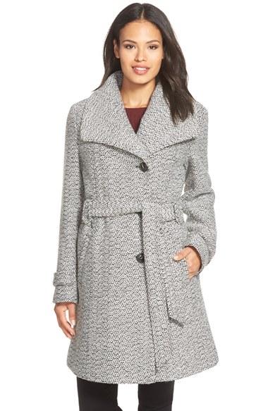 Gallery Belted Long Tweed Coat in Gray | Lyst