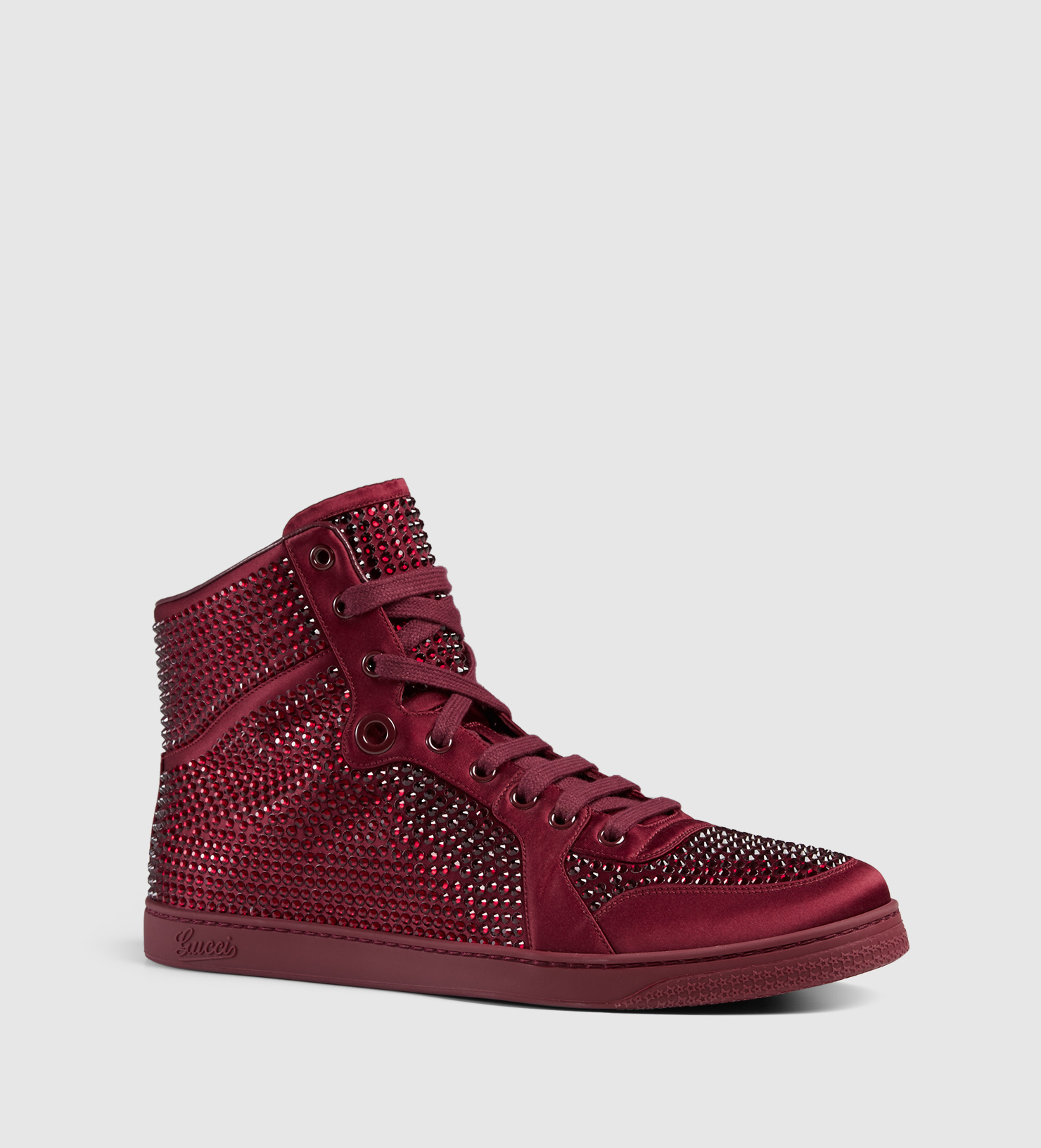 3e73ec4e5ac Lyst - Gucci High-top Sneaker With Crystal Studs in Red for Men