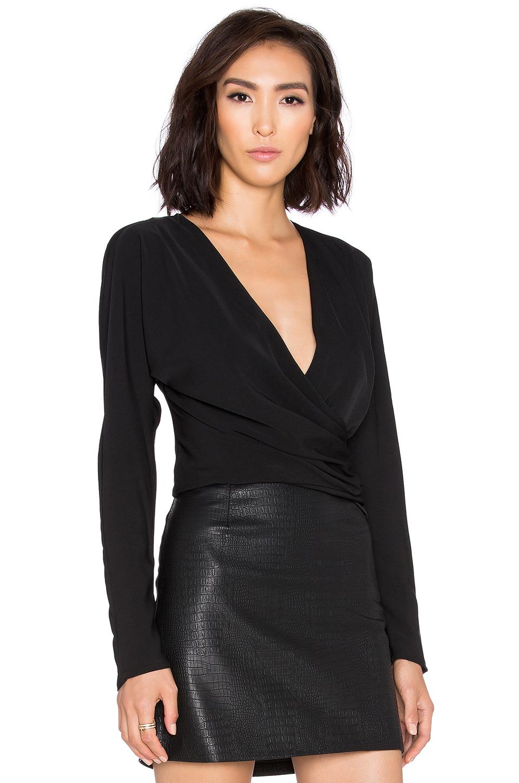 Lyst Bobi Black Georgette Long Sleeve Wrap Crop Top In Black