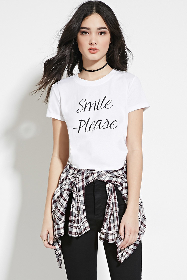 9747cb89 Forever 21 Smile Graphic Tee in White - Lyst