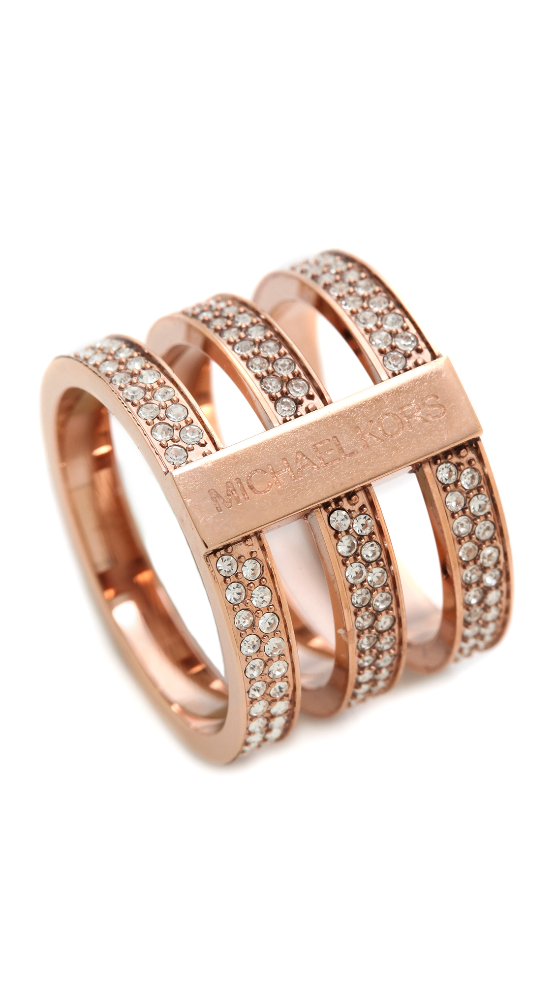 jewelry kors in bar product gallery open normal lyst rings ring tri michael pink goldclear pave rose stack