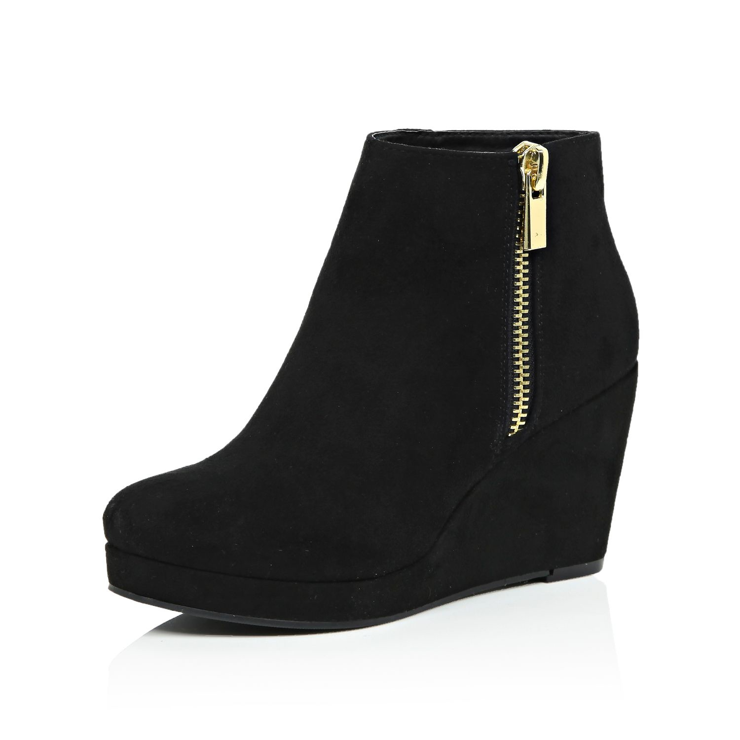 ee5efd4aa329 River Island Black Wedge Ankle Boots in Black - Lyst