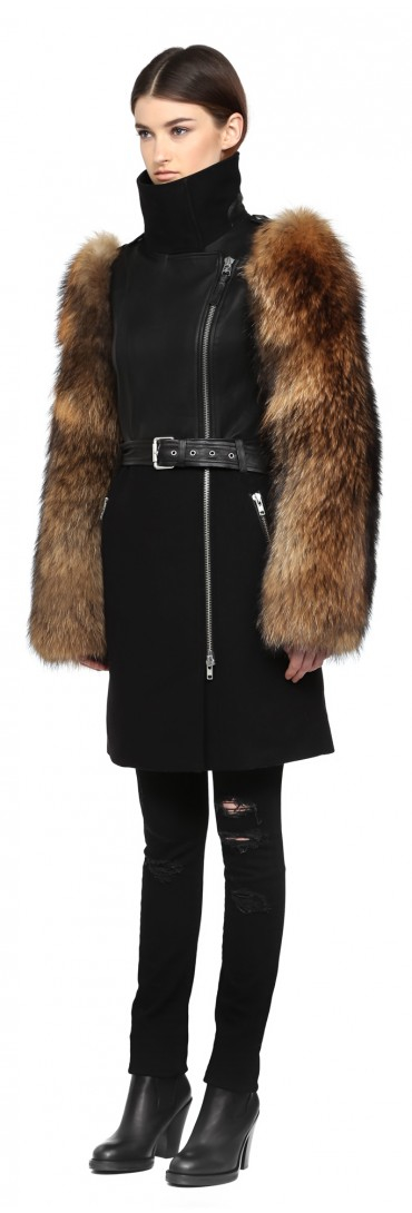 Mackage Cybilia Black Wool Coat With Leather Details And Fur
