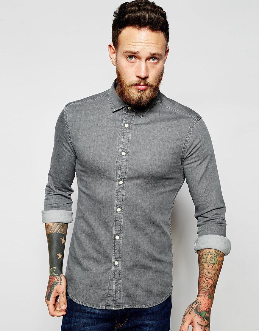 afaf6b49e1 Lyst - ASOS Skinny Denim Shirt With Long Sleeves in Gray for Men